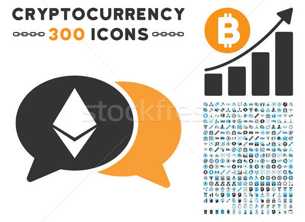 Ethereum Chat Flat Icon with Set Stock photo © ahasoft