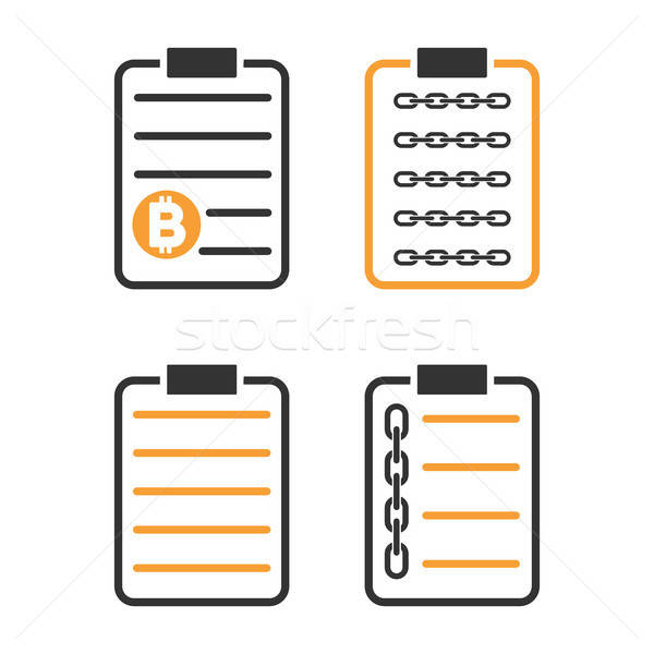 Blockchain Smart Contract Vector Icon Set Stock photo © ahasoft