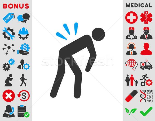 Ból w krzyżu ikona wektora stylu symbol niebieski Zdjęcia stock © ahasoft