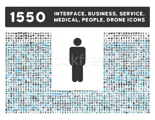Man Icon and More Interface, Business, Tools, People, Medical, Awards Flat Glyph Icons Stock photo © ahasoft
