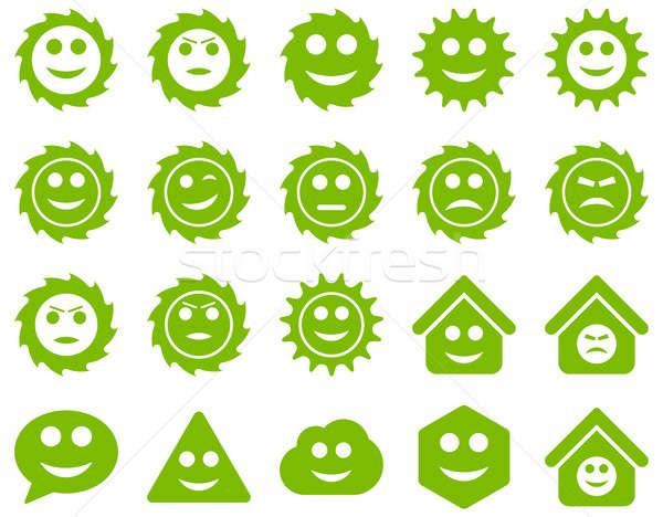 Szerszámok sebességváltó mosoly érzelmek ikonok szett Stock fotó © ahasoft