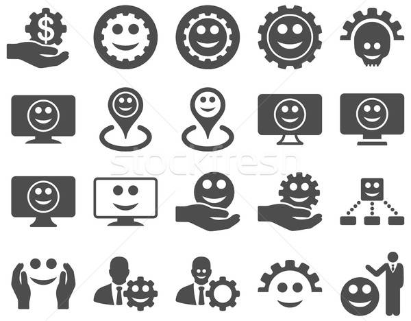 Tools versnellingen glimlacht kaart iconen vector Stockfoto © ahasoft
