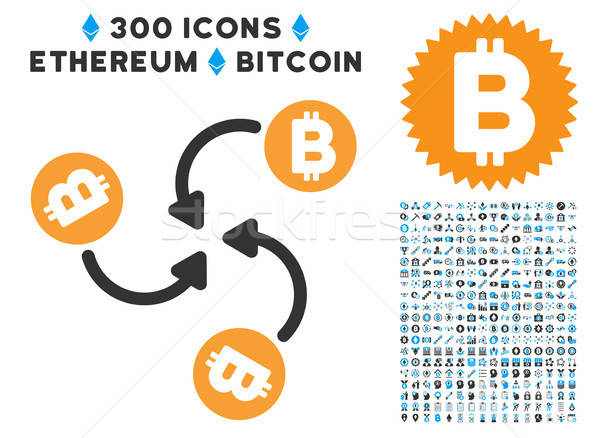 Bitcoin Mixer Swirl Flat Icon with Collection Stock photo © ahasoft