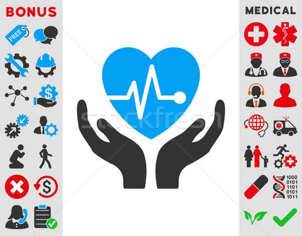 Kardiológia ikon vektor stílus szimbólum kék Stock fotó © ahasoft