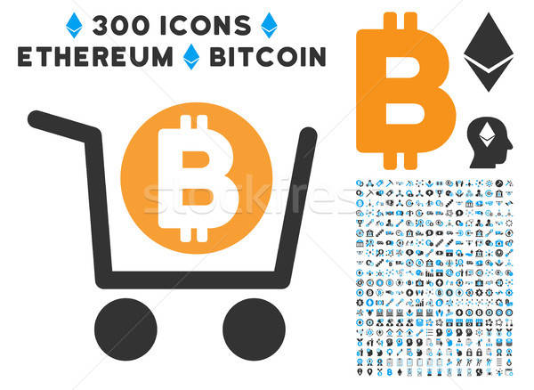 Bitcoin Shopping Cart Flat Icon with Clip Art Stock photo © ahasoft
