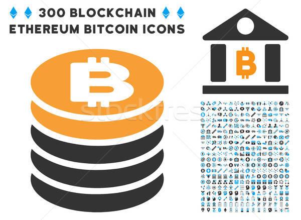 Bitcoinの コイン スタック アイコン コレクション スマート ストックフォト © ahasoft