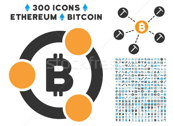 Bitcoin Collaboration Flat Icon with Collection Stock photo © ahasoft