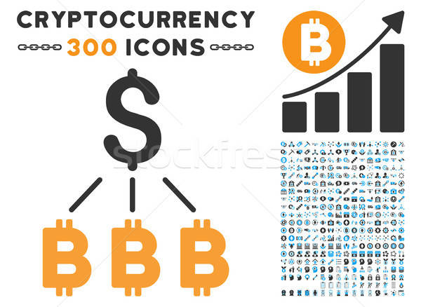 Dollar Bitcoin Links Flat Icon with Collection Stock photo © ahasoft