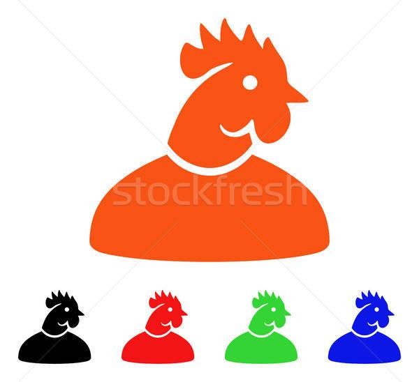 петух человека вектора икона стиль iconic Сток-фото © ahasoft
