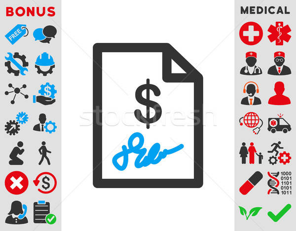 Signed Invoice Icon Stock photo © ahasoft