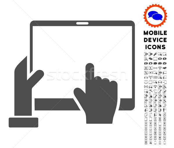 Hand Points PDA Icon with Set Stock photo © ahasoft