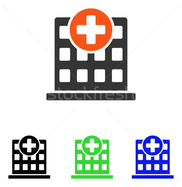 Stock photo: Clinic Facade Flat Vector Icon