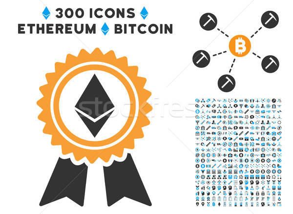 Ethereum Reward Medal Flat Icon with Set Stock photo © ahasoft