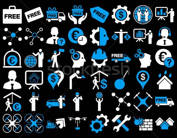 Foto stock: Negocios · iconos · azul · blanco · colores