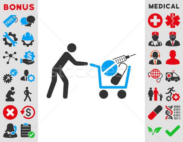 Orvosi vásárlás ikon vektor ikon stílus szimbólum Stock fotó © ahasoft