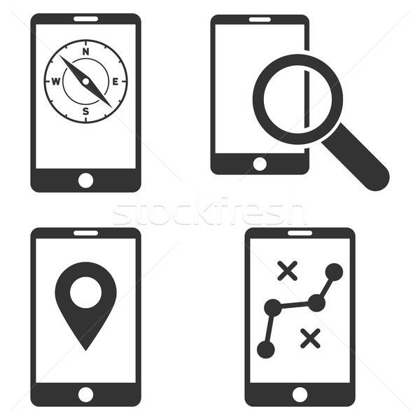 Mobile Location Tools Vector Flat Icon Set Stock photo © ahasoft