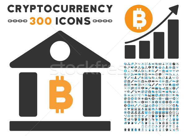 Bitcoin Bank Building Flat Icon with Clip Art Stock photo © ahasoft