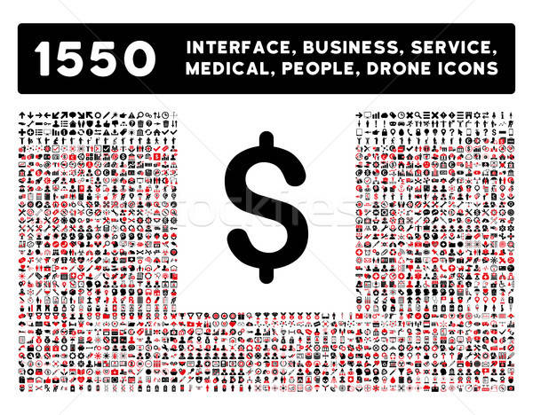 Dollar Icon and More Interface, Business, Tools, People, Medical, Awards Flat Vector Icons Stock photo © ahasoft