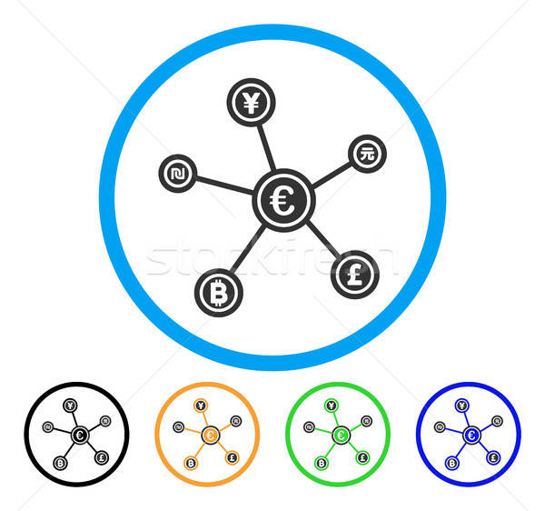 Euro Financial Network Links Rounded Icon Stock photo © ahasoft