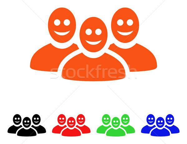 Boldog emberek csoport vektor ikon stílus ikonikus Stock fotó © ahasoft