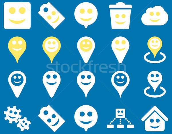 Tools, emotions, smiles, map markers icons Stock photo © ahasoft