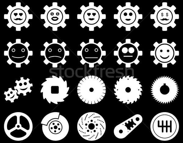 Tools glimlach versnellingen iconen ingesteld stijl Stockfoto © ahasoft