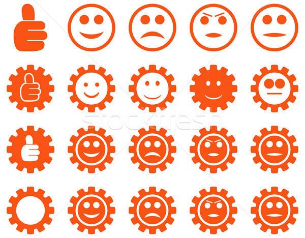 Stockfoto: Glimlach · versnellingen · iconen · vector · ingesteld