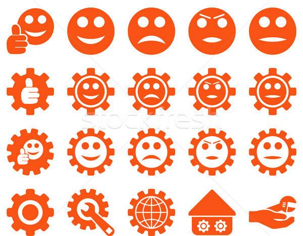 Stock fotó: Beállítások · mosoly · sebességváltó · ikonok · vektor · szett