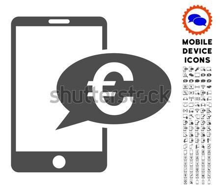 Euro Mobile Message Flat Raster Icon Stock photo © ahasoft