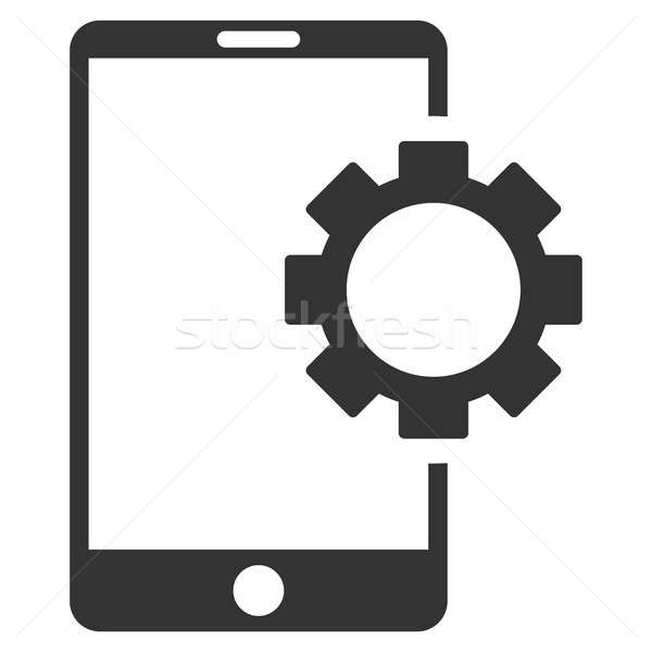 Phone Setup Gear Flat Raster Icon Stock photo © ahasoft