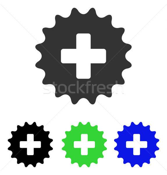 Plus Stamp Flat Vector Icon Stock photo © ahasoft