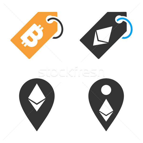 Cryptocurrency Tag Vector Icon Set Stock photo © ahasoft