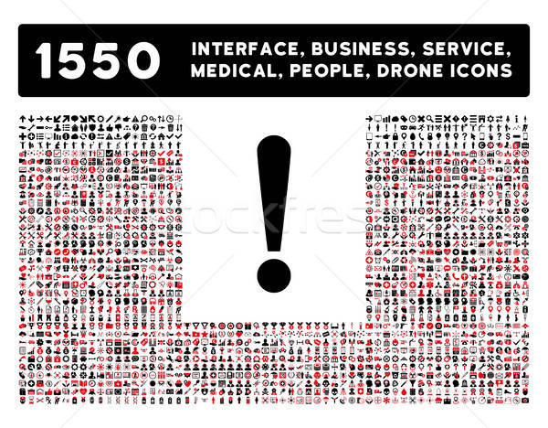 Exclamation Sign Icon and More Interface, Business, Tools, People, Medical, Awards Flat Vector Icons Stock photo © ahasoft