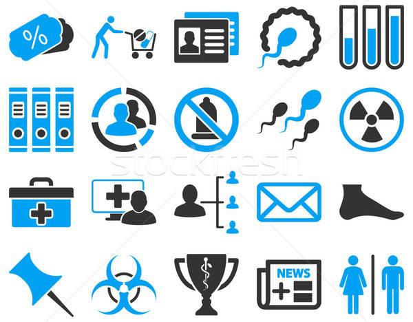 Orvosi ikonok ikon gyűjtemény rajzolt kék szürke Stock fotó © ahasoft