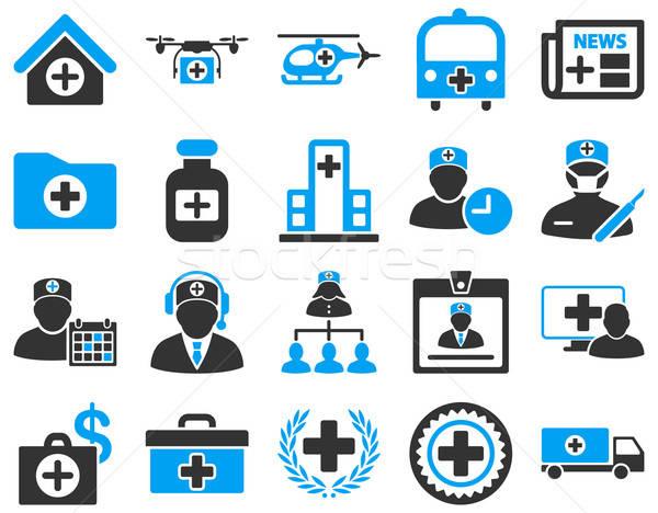 商业照片 / 矢量图: 医生 · 图标 · 蓝色 · 灰色 / medical icon