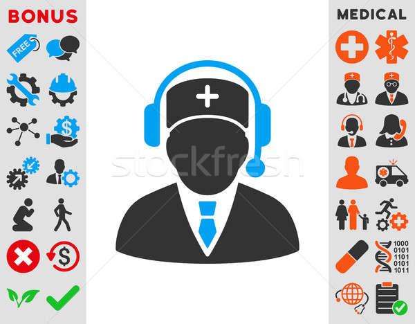 Vészhelyzet menedzser ikon stílus szimbólum kék Stock fotó © ahasoft