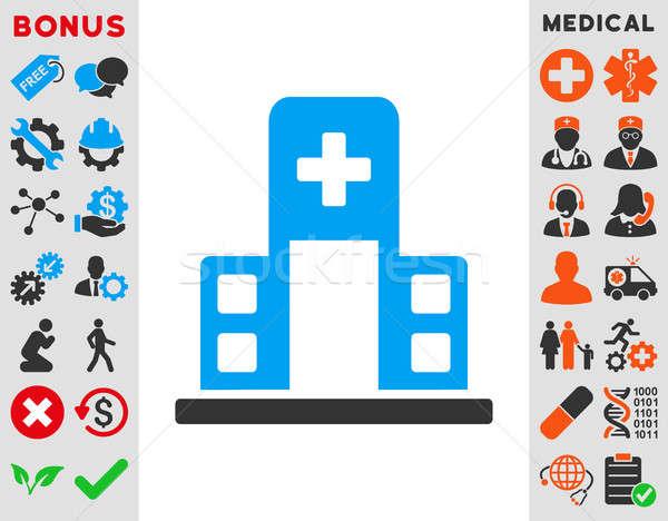 Kórház épület ikon stílus szimbólum kék Stock fotó © ahasoft