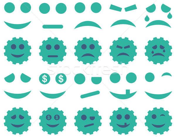 Tools versnellingen glimlacht iconen ingesteld Stockfoto © ahasoft