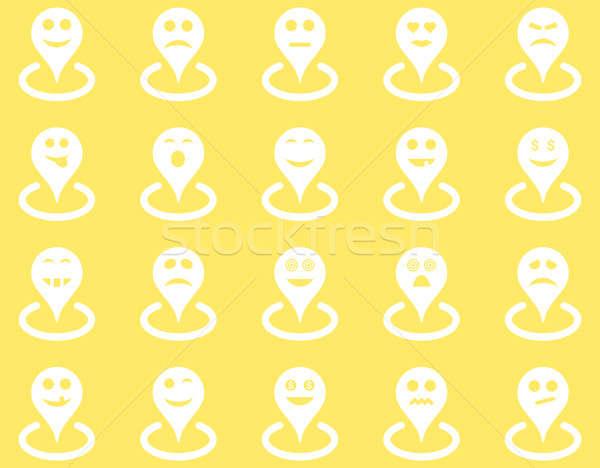 Ubicación iconos establecer estilo blanco Foto stock © ahasoft