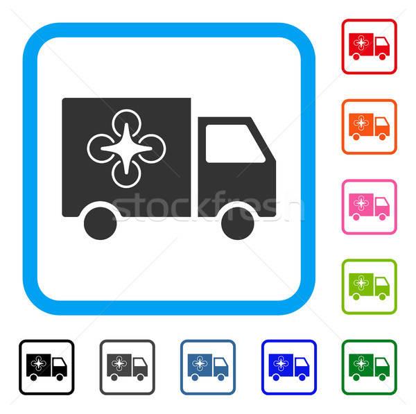 Kisteherautó ikon szürke ikonikus szimbólum világoskék Stock fotó © ahasoft