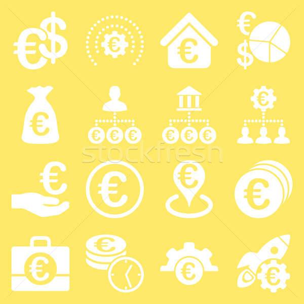 евро банковской бизнеса службе инструменты иконки Сток-фото © ahasoft