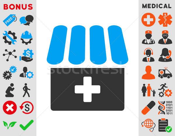 Apteka ikona stylu symbol niebieski szary Zdjęcia stock © ahasoft