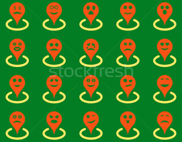 Smiled location icons Stock photo © ahasoft