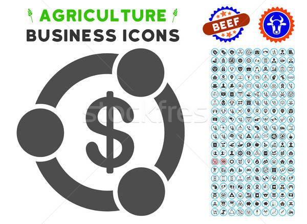 Financeiro colaboração ícone agricultura conjunto cinza Foto stock © ahasoft