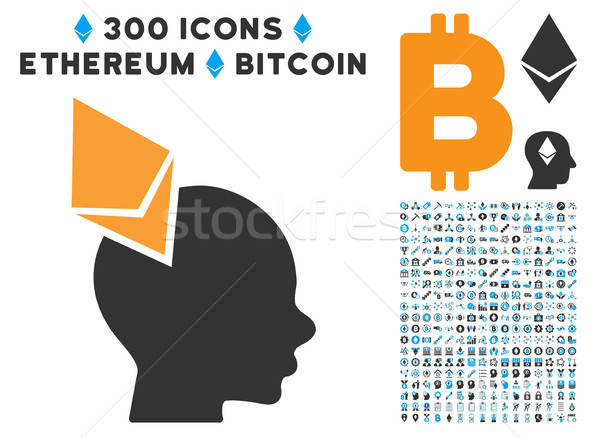 Ethereum Penetrated Head Flat Icon with Clip Art Stock photo © ahasoft