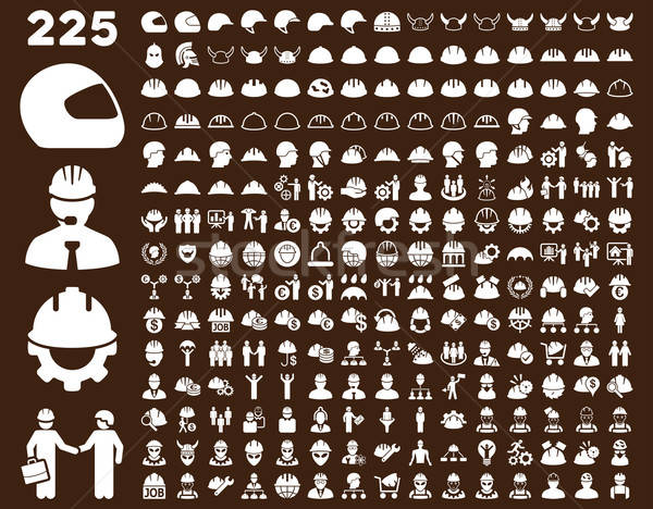 Stock photo: Work Safety and Helmet Icon Set.