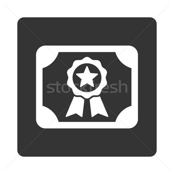 Foto d'archivio: Certificato · icona · stile · bianco · grigio · colori
