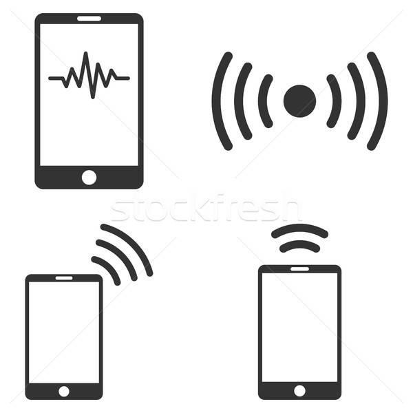Mobiles signal vecteur ensemble style Photo stock © ahasoft