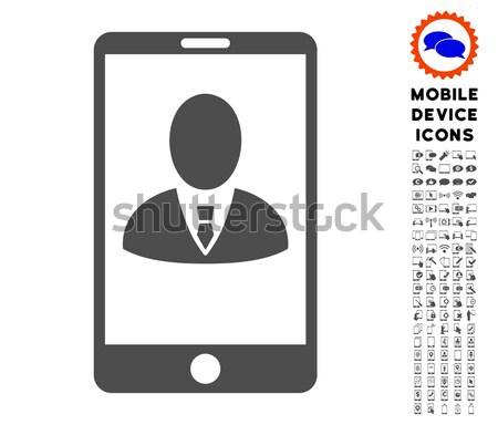 Mobil felhasználó profil ikon szürke szimbólum Stock fotó © ahasoft