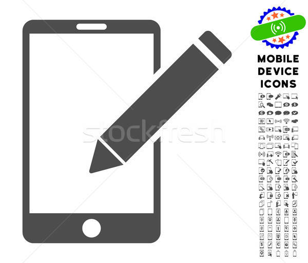 Smartphone Edit Pencil Icon with Set Stock photo © ahasoft